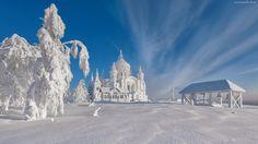 Zima, Śnieg, Ośnieżone, Drzewa, Cerkiew