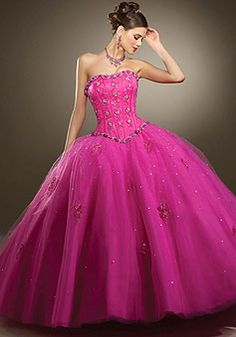 Strapless Satin Applique Ball Gown Lace-up Back Quinceanera Dress...۩۞۩Double click the picture to take you to the site ஜ۩۞۩ஜ