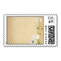 White Wildflowers on Beige Wedding Postage Stamp