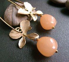 hydrangea  peachblush  floral peach drop earrings by trystbykerry
