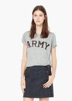 Maglietta testo stampato - Donna | MANGO