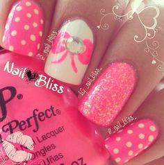 Pink girly nails
