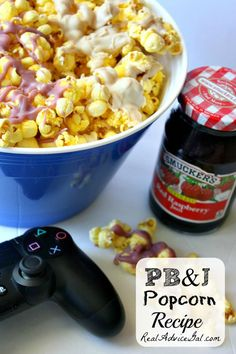 Reinvent your popcorn movie nght snack. Try this PB & J Popcorn Recipe #MyPBJMoment #AD