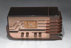 """1936 Sparton Art Deco Peach Mirror """"Sled"""" Radio by Walter Teague"""