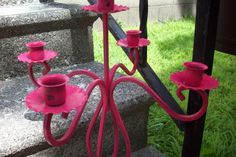 Coral candelabra/ painted metal coral candelabra/ upcycled rustic candle holder/ shabby coral wedding centerpiece/ modern home decor by UpcycledCottageDecor on Etsy