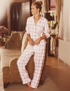 Rosie for Autograph Luxury Woven Checked Revere Pyjamas-Marks & Spencer