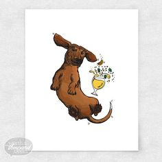 This happy dachshund dog is enjoying a hoppy pale ale and isn't mad about it! This print is great for your home's wall, for bar art or brewery art! Dog Illustration, Ink Illustrations, Dachshund Art, Daschund, Watercolor Christmas Cards, Watercolor Cards, Dog Heaven, Beer Art, Weenie Dogs