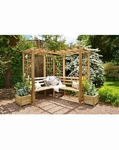 Small Garden Pergola, Backyard Gazebo, Corner Pergola, Sloped Garden, Outdoor Pergola, Garden Seating, Outdoor Rooms, Outdoor Ideas, Backyard Ideas