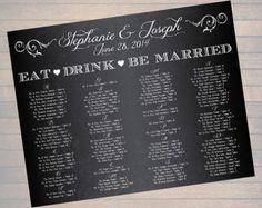 "22x28"" Custom Printable Chalkboard Wedding Seating Chart #1 (Digital File)"