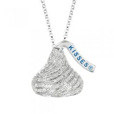 Sterling Silver and Diamond Flat Back Shaped Hershey's Kiss Pendant - by Samuels Jewelers