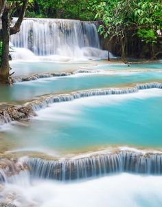 Kung Si Thailand Waterfall Wall Mural #6041 | Stickerbrand wall art decals, wall graphics and wall murals.