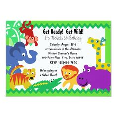 J Is For Jungle 5x7 Paper Invitation Card Birthday Message Rainbow Invitations