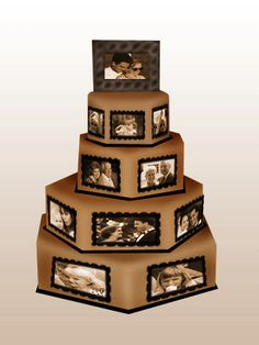 you can do this with a traditional style cake too im sure. love the idea, memories on your wedding cake.