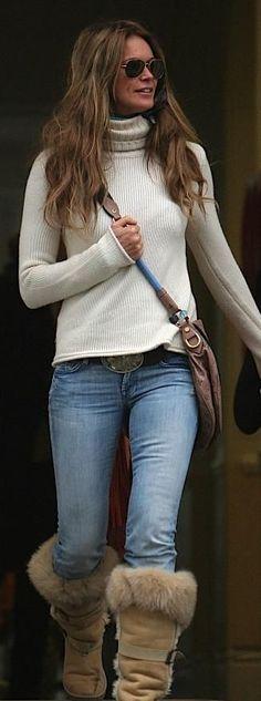 Cream turtleneck, denim jeans, tan suede boots, brown crossbody bag--EM