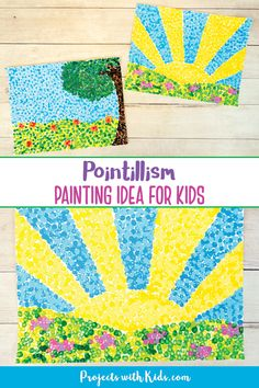 This pointillism for kids art project is fun for all ages! Try q-tip painting to create colorful art inspired by the famous artist Georges Seurat. Kids will love creating their own masterpiece! Classroom Art Projects, School Art Projects, Art Classroom, Art Lessons Elementary, Kids Art Lessons, Color Art Lessons, Kids Art Class, Spring Art Projects, Fun Art Projects