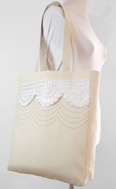 Canvas Tote Bag  Christmas Tote Bag  Traditional by duduhandmade