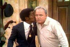 All in the Family ~ When he guest stars, Sammy Davis, Jr. kisses Archie Bunker (Carroll O'Connor) in one of TV's most famous moments... and kisses. #TV #Television
