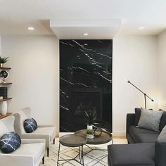 Fireplace Feature Wall, Tv Feature Wall, Marble Fireplace Surround, Stone Mantel, Marble Fireplaces, Modern Fireplace, Fireplace Wall, Living Room With Fireplace, Fireplace Surrounds