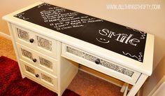 I found a 'junky' old desk at a yard sale for my youngest daughter that i'm so excited to redo.. I love the idea of the chalkboard paint top! So cute!