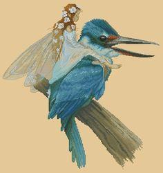 Cross Stitch Cart Pattern or Kit Fairy on Kingfisher Bird by Jean-Baptiste Monge