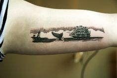 Boat, whale, lighthouse - I love this! It really makes me want a tattoo that's a visual, linear representative of a story I like...