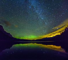Just Space Aurora and Milkey Way at Wedge Pond, Kananaskis, Canada