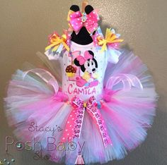 Our Super LovelyBaby Minnie Mouse Pink Polka Dots Birthday Tutu Comes in any age and Size needed. It can Also comes in any Color Combo You Need as Well To Fit The theme of Your Party. Very Elegant and pretty for that Special Baby Girl or Big Girl's Birthday! She will be the Star of the Show! Great for Photo Props as Well That will be a lifetime of Memories of her for Years to come! 3 Piece Outfit Comes with 1 Personalized Standard Onesie or for Older Girls over age 2 Yrs a Tee Shir