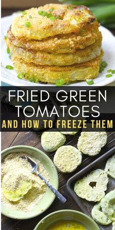Fried Green Tomatoes and How to Freeze Them Fried Green Tomatoes and how to freeze them These ultra crispy and totally delicious tomatoes are a Southern classic Side Dish Recipes, Vegetable Recipes, Vegetarian Recipes, Easy Recipes, Beignets, Empanadas, Green Tomato Recipes, Fried Green Tomatoes, Vegetable Side Dishes