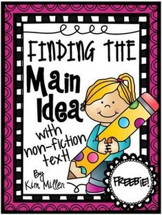 Finding the Main Idea with Non-Fiction Texts (comes with 20 different non-fiction passages with answer keys) In this sample freebie you will find 3 non-fiction passages that students can use to practice finding the main idea and supporting details. Reading Lessons, Reading Skills, Teaching Reading, Guided Reading, Reading Strategies, Reading Groups, Learning, Reading Logs, Library Lessons