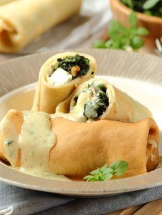 Spanakopita, Crepes, Feta, Ethnic Recipes, Ideas, Thoughts, Pancake, Pancakes