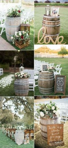 Country Wedding Great Ways to Use Wine Barrels - Em.- Country Wedding Great Ways to Use Wine Barrels – EmmaLovesWeddings country wedding ceremony decoration ideas with wine barrels - Farm Wedding, Wedding Day, Dream Wedding, Perfect Wedding, Wedding Country, Country Weddings, Outdoor Weddings, Wedding Nails, Rustic Barn Weddings