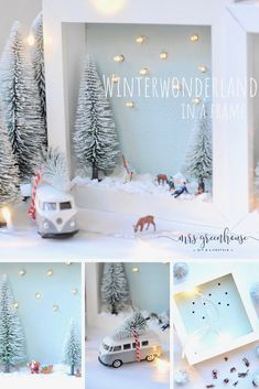 Winterlandschaft im Bilderrahmen - ein diy im Winter DIY for a winter landscape in the picture frame. An atmospheric decoration in the winter time. Instructions on mrsgreenhouse. Winter Diy, Winter Christmas, Christmas Time, Christmas Crafts, Christmas Decorations, Christmas Ornaments, Xmas, Ikea Christmas, Winter Craft