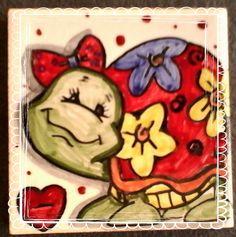 Tartaruga - Azulejo vidrado pintura com tinta de alto fogo. 7,5 X 7,5 cm