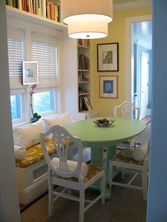 ♥ table, book shelves & fabric  this and the coner bookcase and shelves and chair are all I need,  well, crockpot and steamer.