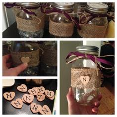 Wedding mason jars with initials
