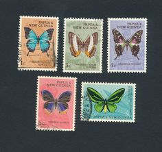 Papua New Guinea stamps - stamp lot of 5 butterflies butterfly - (lot 148)