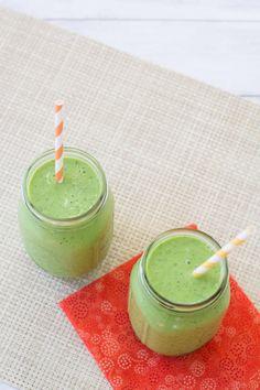 Peach, Mango, and Kale Smoothie- a healthy green smoothie made with protein-rich Greek yogurt. | Kristine's Kitchen