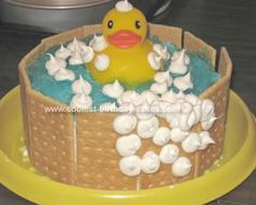 Homemade Duckie in Tub Birthday Cake: I made this Duckie in Tub Birthday Cake for my daughter's first birthday.  It was very easy to make.  I made a two layer round cake and frosted it.  I
