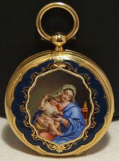 V RARE Solid 18K Gold George Rock Geneve with Enamel Portrait Pocket Watch   eBay