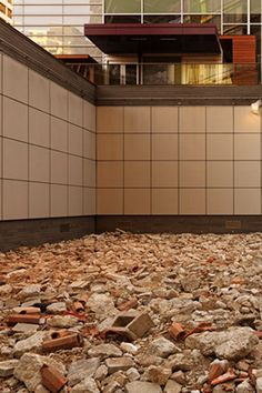 """""""Calm"""" an instillation of building rubble meant to mimic the calm and stillness present after a natural disaster."""