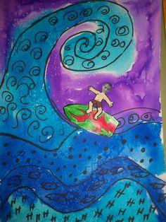 Dibujo del mar tapa tercer trimestre. Portada álbum escolar con fotografía alumnos
