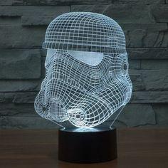 Star Wars Inspired Storm Trooper Helmet 3D Optical Illusion Lamp