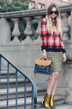 Late Afternoon: pattern mix and gold boots