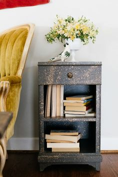 """Gold Flecked Side Table- """"Cassiopeia"""" designed by Barb Blair for her book """"Furniture Makes the Room"""" Chronicle Books 2016  Photo by Paige French"""