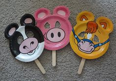 use the zoo pal paper plates to make puppets! just cut the eyes out and mount them on popsicle sticks or paint sticks. For IIP level 1 Paper Plate Crafts, Paper Plates, Old Macdonald Birthday, Art For Kids, Crafts For Kids, Zoo Crafts, Farm Animal Crafts, Farm Animals, Farm Unit