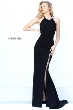 150ffaa32ac Lovely Fitted Embellished Beads Low Back Slit Black Party Gown From Sherri  Hill 50647