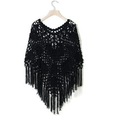 Chicwish Delicate Hand-knit Fringe Cape in Black (63 NZD) ❤ liked on Polyvore featuring outerwear, chicwish, black, poncho cape, black cape coat, cape poncho, black cape and black poncho