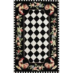 Shop for The Gray Barn Evergreens Hand-hooked Moroccan Rooster Checkered Polyester Area Rug. Get free delivery On EVERYTHING* Overstock - Your Online Home Decor Store! Kitchen Area Rugs, Room Kitchen, Area Rugs For Sale, Galo, Black Rug, Color Black, Black White, Black Style, Black Plaid