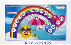 Ticket Size- x inch approx. How To Play: Each Rainbow Rain Sun housie ticket has three Kitty Party Games, Cat Party, Rainy Season, Monsoon, Crafts To Make, Ticket, Rainbow, Seasons, Sun