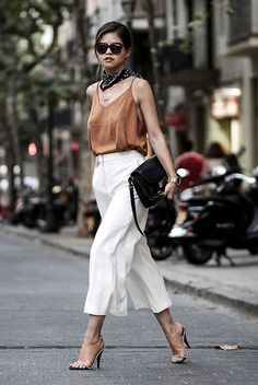Картинки по запросу beige culottes outfit